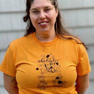 Woman wearing Abolish ICE t-shirt